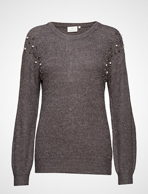 Kaffe genser, Cammi Rib Knit Pullover Strikket Genser Grå KAFFE
