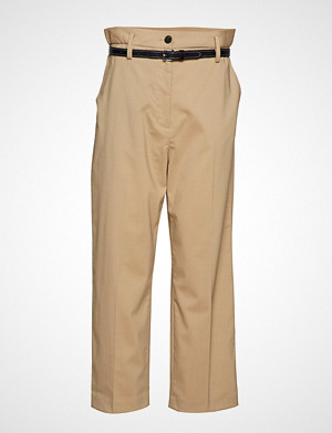 Paper Bag Wool Cropped Pant W Leather Belt Bukser Med Rette Ben Beige 3.1 PHILLIP LIM