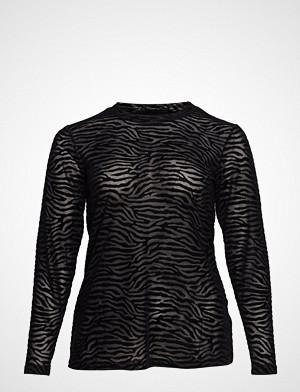 Zizzi T-skjorte, Mmarie, L/S, Mesh Top T-shirts & Tops Long-sleeved Svart ZIZZI