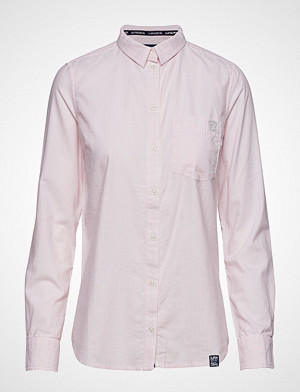Superdry skjorte, Oxford Stripe Shirt Langermet Skjorte Rosa SUPERDRY