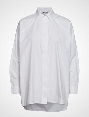 Ganni skjorte, Plain Cotton Poplin Langermet Skjorte Hvit GANNI