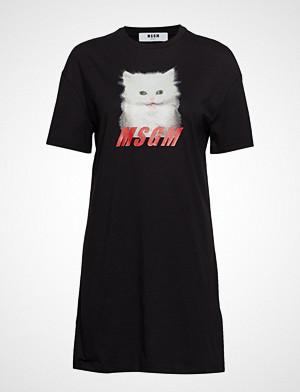 MSGM T-skjorte, Glitter Print Cat T-Shirt T-shirts & Tops Short-sleeved Svart MSGM
