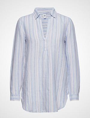 GAP skjorte, Popover Tunic Linen Yd Langermet Skjorte Blå GAP