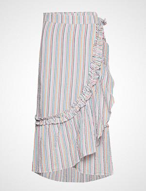 Becksöndergaard skjørt, Striped Camillia Long Skirt Knelangt Skjørt Hvit BECKSÖNDERGAARD