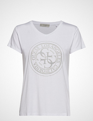 GUESS Jeans T-skjorte, Ss Vn Glitter Stamp Tee T-shirts & Tops Short-sleeved Hvit GUESS JEANS
