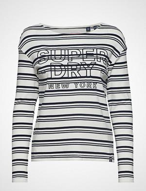 Superdry T-skjorte, Gracie L/S Stripe Top T-shirts & Tops Long-sleeved Hvit SUPERDRY