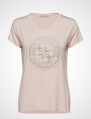 GUESS Jeans T-skjorte, Ss Vn Glitter Stamp Tee T-shirts & Tops Short-sleeved Rosa GUESS JEANS