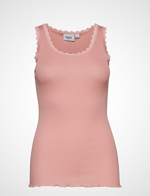 Saint Tropez singlet, Rib Tank Top With Lace - Basic T-shirts & Tops Sleeveless Rosa SAINT TROPEZ