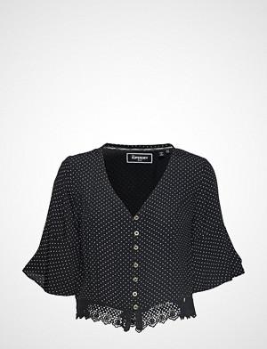 Superdry Joesphine Lace Top Blouses Short-sleeved Blå Superdry