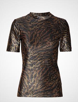 Ganni T-skjorte, Lurex Jersey T-Shirt T-shirts & Tops Short-sleeved Brun GANNI