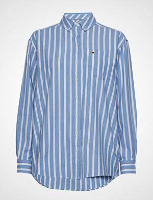 Tommy Jeans skjorte, Tjw Washed Multistri Langermet Skjorte Blå TOMMY JEANS