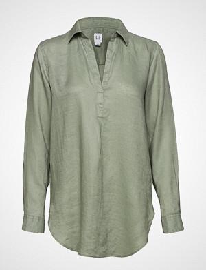 GAP skjorte, Popover Tunic Linen Sld Langermet Skjorte Grønn GAP