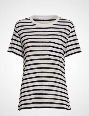 T by Alexander Wang T-skjorte, Classic Striped Slub Jersey S/S Tee W/ Pocket T-shirts & Tops Short-sleeved Hvit T BY ALEXANDER WANG