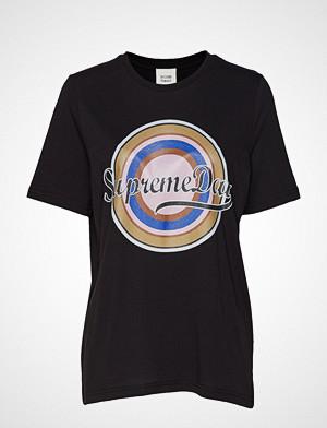 Second Female T-skjorte, Supreme Ss Tee T-shirts & Tops Short-sleeved Svart SECOND FEMALE