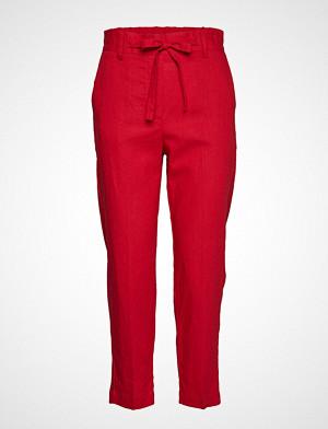 Mango bukse, Straight Linen-Blend Trousers Bukser Med Rette Ben Rød MANGO