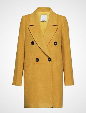 Mango kåpe, Structured Wool Coat Ullfrakk Frakk Gul Mango