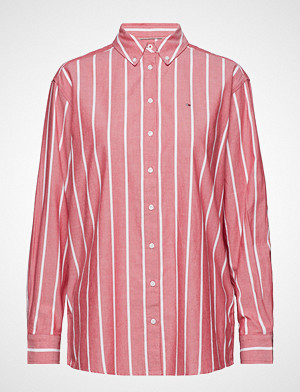 Tommy Jeans skjorte, Tjw Soft Touch Strip Langermet Skjorte Rød TOMMY JEANS