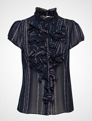 Saint Tropez bluse, U1000, Woven Top Short Sleeves Bluse Kortermet Svart SAINT TROPEZ