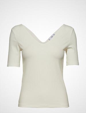Mango T-skjorte, Striped Rib T-Shirt T-shirts & Tops Short-sleeved Hvit Mango