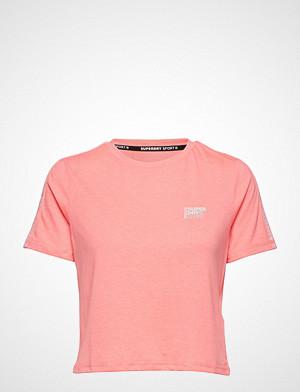 Superdry Sport T-skjorte, Core Crop Branded Tee T-shirts & Tops Short-sleeved Rosa SUPERDRY SPORT