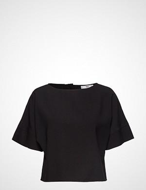 Mango T-skjorte, Back Button Blouse T-shirts & Tops Short-sleeved Svart Mango