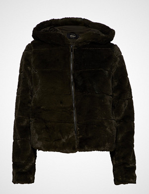 Only jakke, Onlchris Fur Hooded Jacket Otw Noos Jakke Grønn ONLY