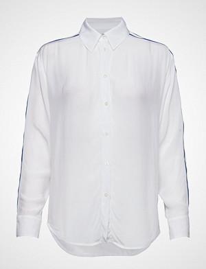 Calvin Klein skjorte, Relaxed Tape Faux Si Langermet Skjorte Hvit CALVIN KLEIN JEANS