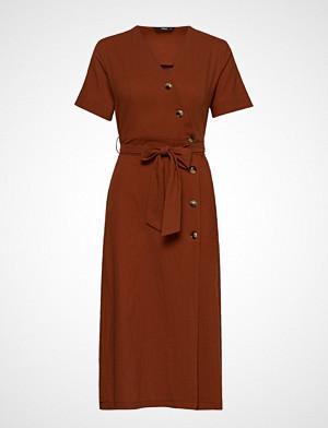 Only kjole, Onlbella 3/4 Button Dress Wvn Knelang Kjole Brun ONLY