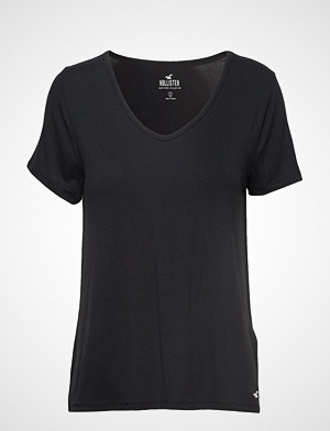 Hollister T-skjorte, Easy Vee Tee T-shirts & Tops Short-sleeved Svart HOLLISTER