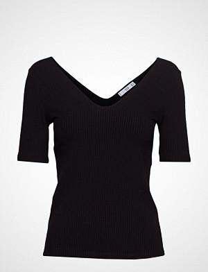 Mango T-skjorte, Striped Rib T-Shirt T-shirts & Tops Short-sleeved Svart MANGO