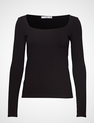 Mango T-skjorte, Ribbed T-Shirt T-shirts & Tops Long-sleeved Svart MANGO