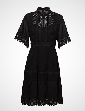 French Connection kjole, Drina Lace Sslv Dress Knelang Kjole Svart FRENCH CONNECTION