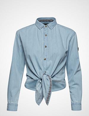 Superdry skjorte, Denim Tie Shirt Langermet Skjorte Blå SUPERDRY