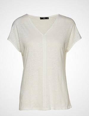 Mango T-skjorte, Linen T-Shirt T-shirts & Tops Short-sleeved Hvit MANGO