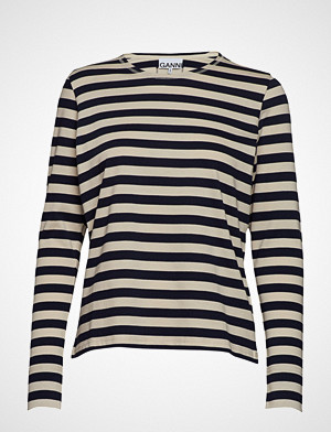 Ganni T-skjorte, Striped Cotton Jersey T-shirts & Tops Long-sleeved Svart GANNI