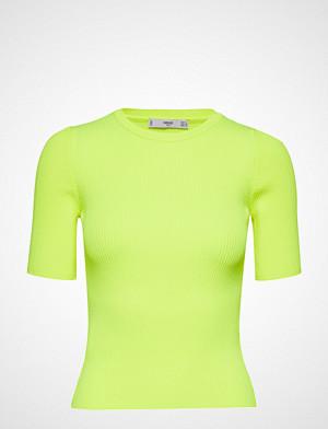 Mango T-skjorte, Fluor Ribbed Top T-shirts & Tops Short-sleeved Gul MANGO