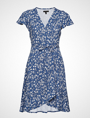 Banana Republic kjole, Ss Knit Wrap Print Dress Knelang Kjole Blå Banana Republic