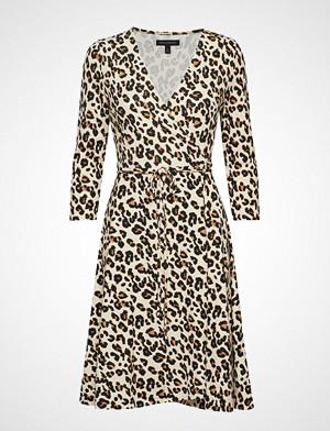 Banana Republic kjole, Ls Knit Wrap Dress Print Knelang Kjole Beige Banana Republic