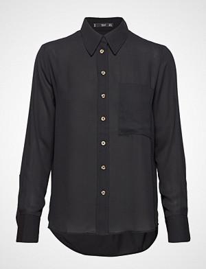 Mango skjorte, Pocket Flowy Shirt Langermet Skjorte Svart Mango