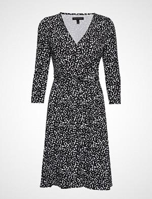 Banana Republic kjole, Ls Knit Wrap Dress Print Knelang Kjole Svart Banana Republic