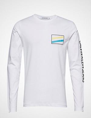 Calvin Klein T-skjorte, Modernist Chest Logo T-shirts Long-sleeved Hvit CALVIN KLEIN JEANS