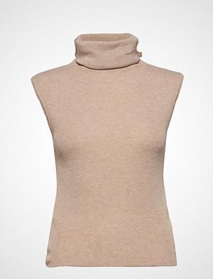 Mango singlet, Turtleneck Ribbed Top T-shirts & Tops Sleeveless Beige MANGO