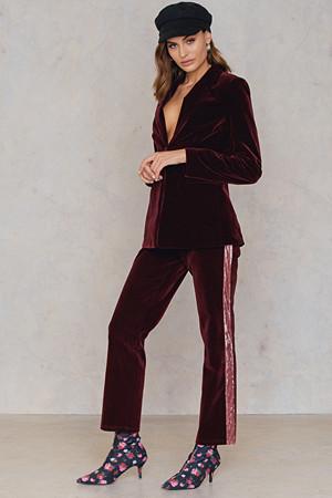 NA-KD Party bukse, Velvet Striped Trousers röd