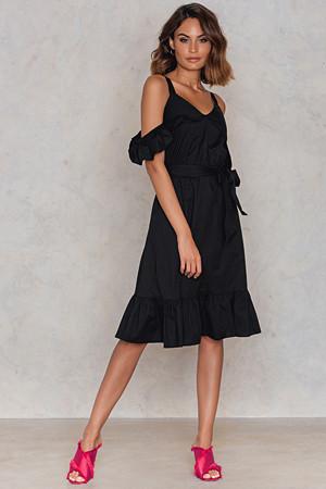 Trendyol kjole, Siyah Frill Sheer Dress svart