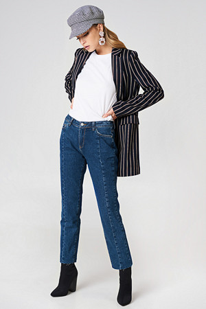 NA-KD Trend jeans, Mid Waist Panel Jeans