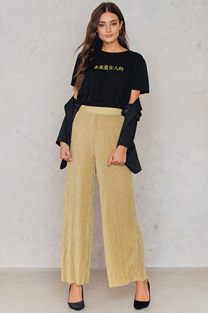NA-KD Party bukse, Glittery Pleated Pants guld