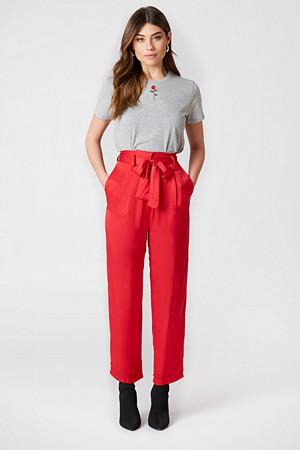 NA-KD Party bukse, Tied Waist Satin Pants röd
