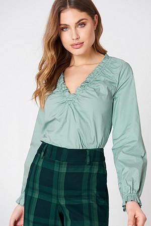 NA-KD Classic bluse, Gathered Neckline Top grön