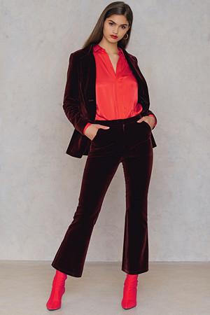 NA-KD Party bukse, Velvet Trousers röd