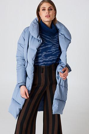 NA-KD jakke, Shawl Collar Padded Jacket blå